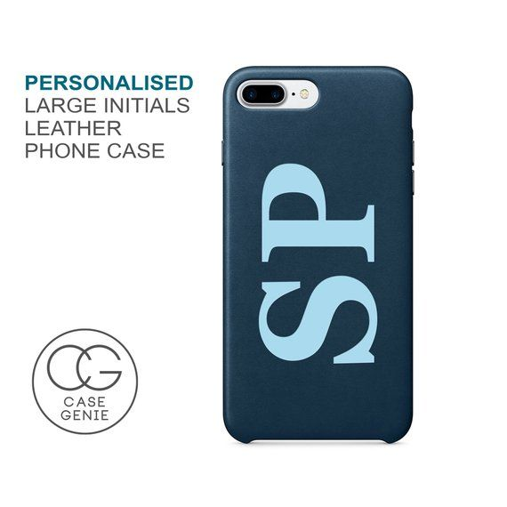 Pink Leather iPhone 11 Pro Max Case Large Initials Personalised X Xs Xr 8 PLUS 7 SE 2020 Monogram Initial Custom Personalized Printed Cover