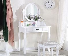 UEnjoy White Dressing Table Makeup Desk with Stool and Round Mirror Bedroom Furniture Dimensions: Table: 75cm*40cm*143cm Chair: 38cm*28cm*45cm Drawer: 30cm*19cm*7cm We guarantee the best quality and value for money. (Barcode EAN = 0713924997706) http://www.comparestoreprices.co.uk/december-2016-week-1/uenjoy-white-dressing-table-makeup-desk-with-stool-and-round-mirror-bedroom-furniture.asp