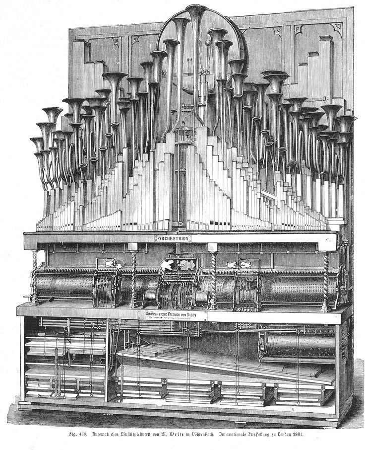 ORQUESTRIÓN En un orquestrión el sonido se produce generalmente por tubos (aunque suenan de manera diferente a los que se encuentran en un órgano de tubos), y mediante instrumentos de percusión como martillos que golpean campanas, tambores, triángulos, etc... Muchos contenían un piano también, e incluso un sistema de arcos que frotaban cuerdas para hacer sonidos de instrumento de cuerda. El orquestrión llegó a su cénit en Alemania durante la década de 1920 con el advenimiento de la Era del…