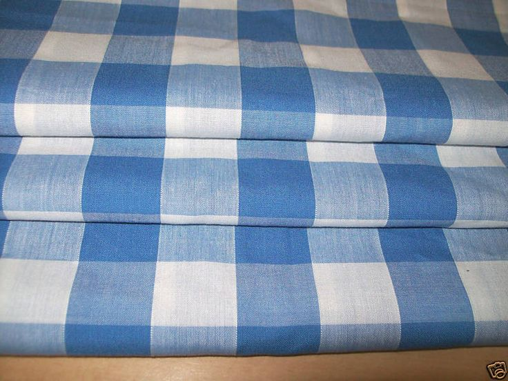 BLUE LARGE CHECK GINGHAM made to measure EYELET CURTAIN uk.picclick.com