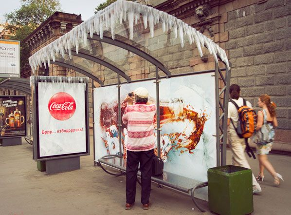 Coca Cola ambient advertising - cool (literally :)