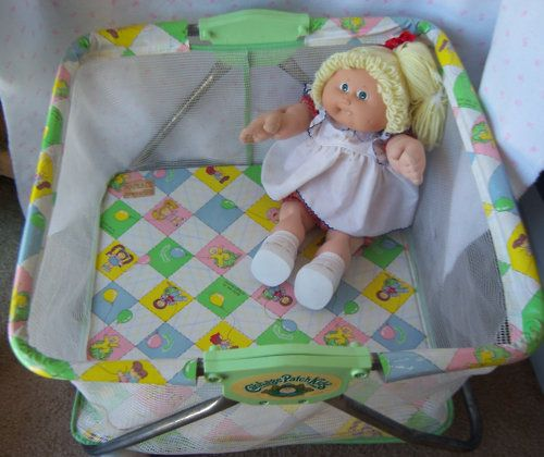 Cabbage Patch Kids Playpen  @Lynda Mellott   remember when dad brought weiner home and she was so little we put her in this!!?? haha