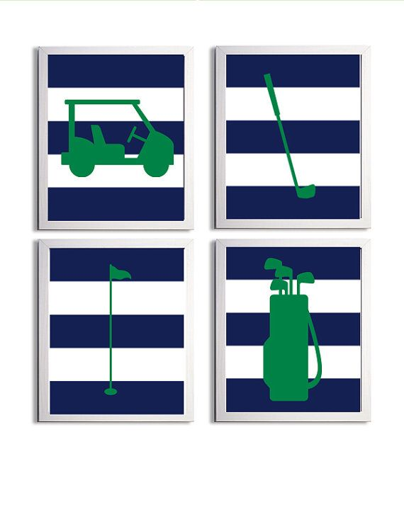 Golf Sports Nursery Boy Girl Navy Kelly Green Stripes more colors available set of 4 each 8x10