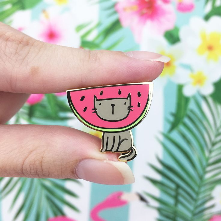 Kitty Watermelon Gold Hard Enamel Pin by Lunarbaystore on Etsy