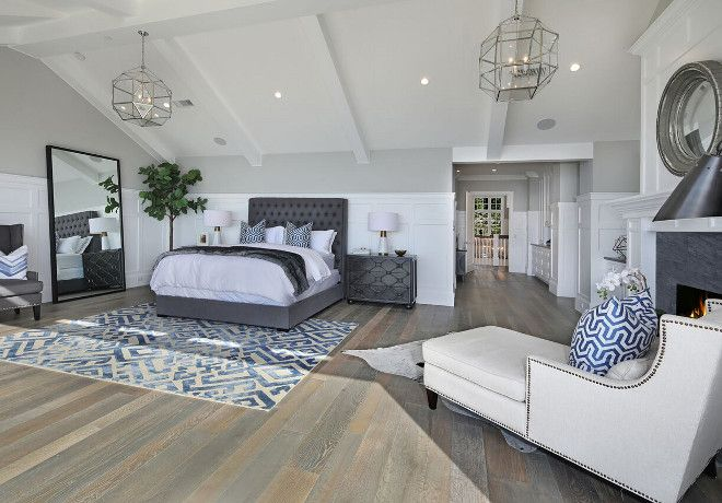 White and grey bedroom paint color, Grey wall paint color is Walls Dunn Edwards DE6227 Muslin Flat. Wall paneling paint color is Dunn Edwards DEW380 White Semigloss. #Whiteandgrey #paintcolor Brandon Architects, Inc