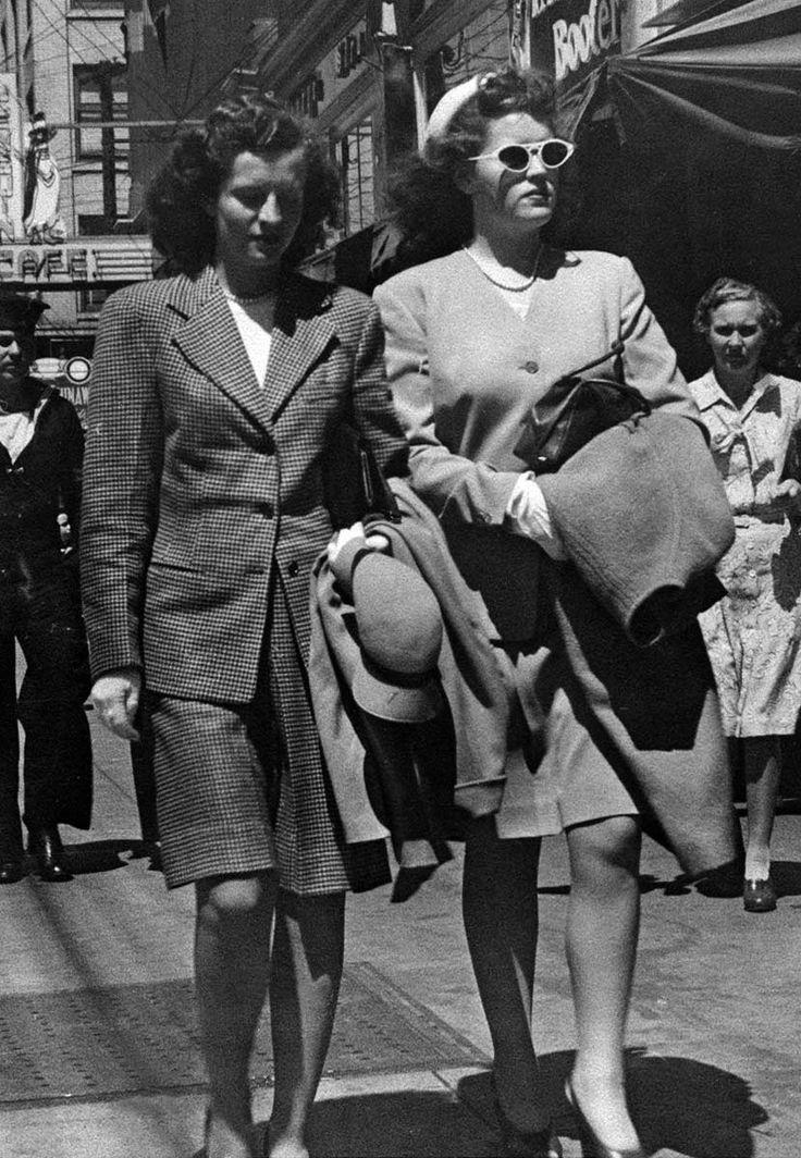 2 ladies walking in downtown Victoria, B.C., 1945