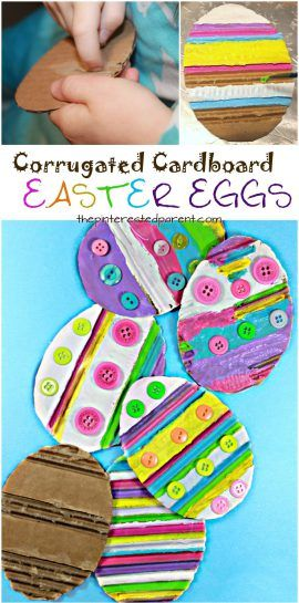 Painted corrugated cardboard Easter eggs. Spring arts & crafts for kids and preschoolers