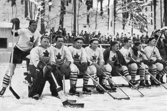 Team Canada- Ice Hockey Team- 1936 Winter Olympics in Germany :Old Antique Vintage Photograph Photo Art Print -Reproduction