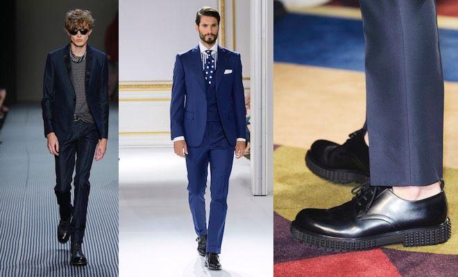 Abito nero scarpe blu uomo