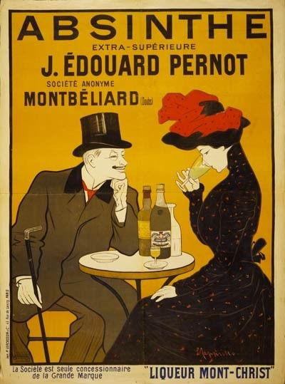 Absinthe / J. Edouard Pernot  Societe Anonyme Montbeliard  Liqueur Mont-Christ http://www.retrosnapshots.com/early-1900s-vintage-french-absinthe-liquor-poster-12431.html