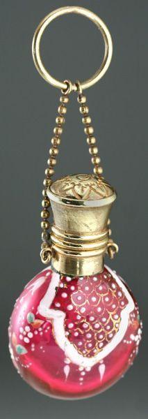 C. 1900 Enamelled Cranberry Glass scent bottle