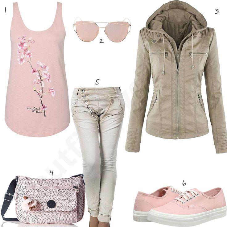 Süßes Damen-Outfit mit rosafarbenem Top, Sonnenbrille, beiger Jacke und Jeans, Kipling Handtasche und Vans Sneakern. #vans #sneaker #handtasche #sonnenbrille #outfit #style