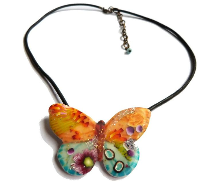 Butterfly-Butterflies Necklaces, Polymer Clay Pendants, Butterflies Pendants, Clay Dough Jewelry, Green Butterflies, Clay Jewelry, Claydough Jewelry, Polymer Pendants, Butterflies Flutter