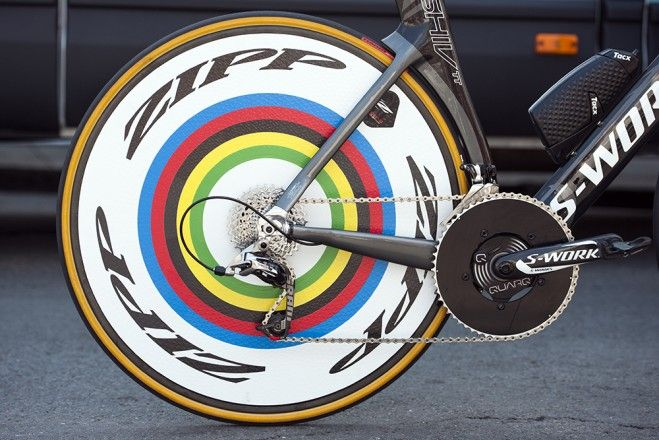 Pro Bike: Tony Martin's stage-winning Specialized S-Works Shiv - Rainbow rings for the current world time trial champion. Photo: Caley Fretz | VeloNews.com