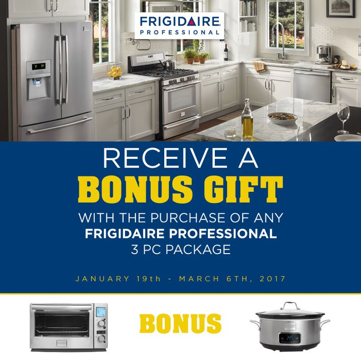 Receive a bonus gift with the purchase of any qualifying #FrigidaireProfessional 3pc package! Visit our page to browse our selection of products. http://ow.ly/w1nZ308LDSr