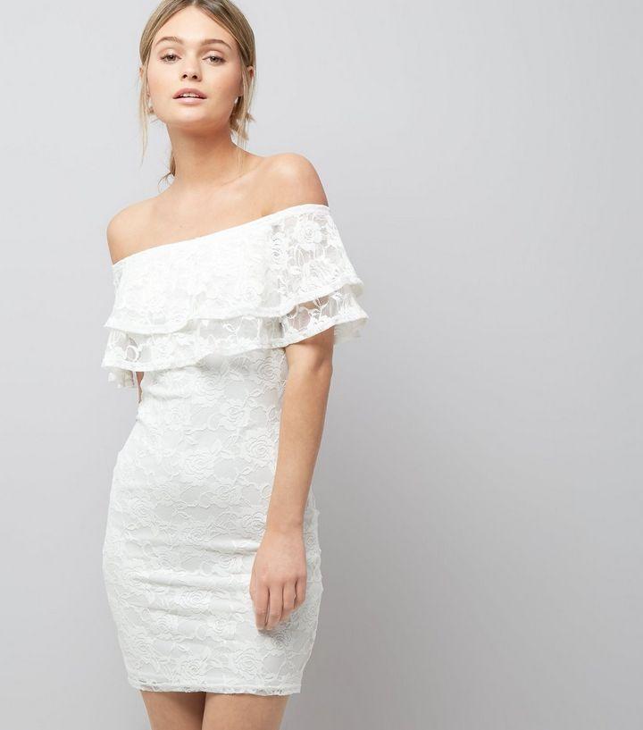 New Look Cream Lace Bardot Neck Bodycon Dress Size Uk 10 Lf086 Gg 10 Fashion Clothing Shoes Acc New Look Dresses New Look White Dress Dress For Short Women