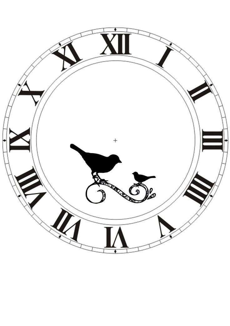 . Clock face printable with birds
