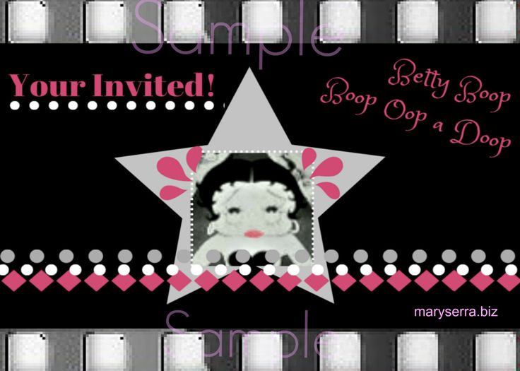 Invitations download printable customized BETTY BOOP by PleasantLakeDesigns on Etsy