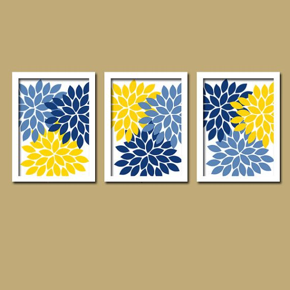 Yellow Navy Blue Flower Burst Dahlia Artwork Set of 3 Trio Prints Decor Abstract Picture Bedroom WALL ART Bathroom