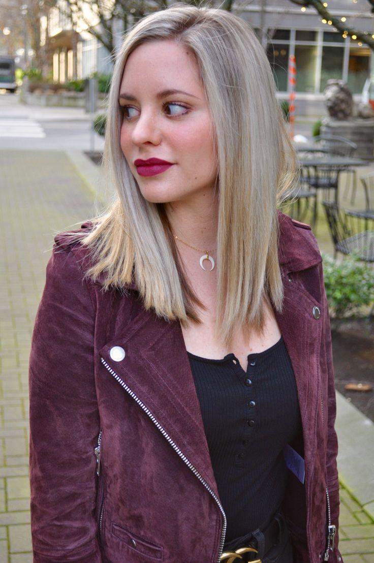 Burgundy suede moto jacket and burgundy lips