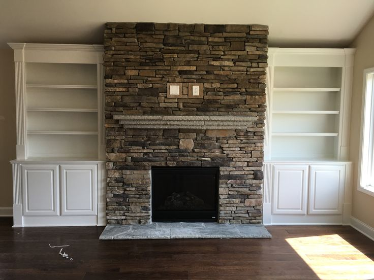 Stacked Stone Fireplace with a Flagstone Mantle and custom ...