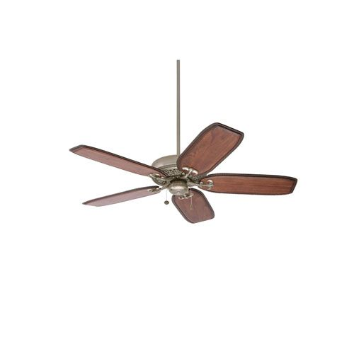 Crown Select Antique Pewter 54-Inch Ceiling Fan with Hand Carved Walnut Blades
