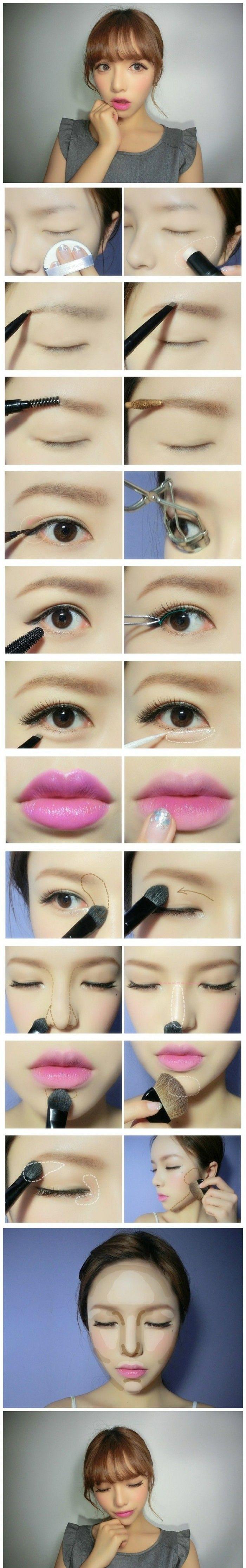 Maquiagem iluminada com delineado delicado, cílios postiços e batom rosinha