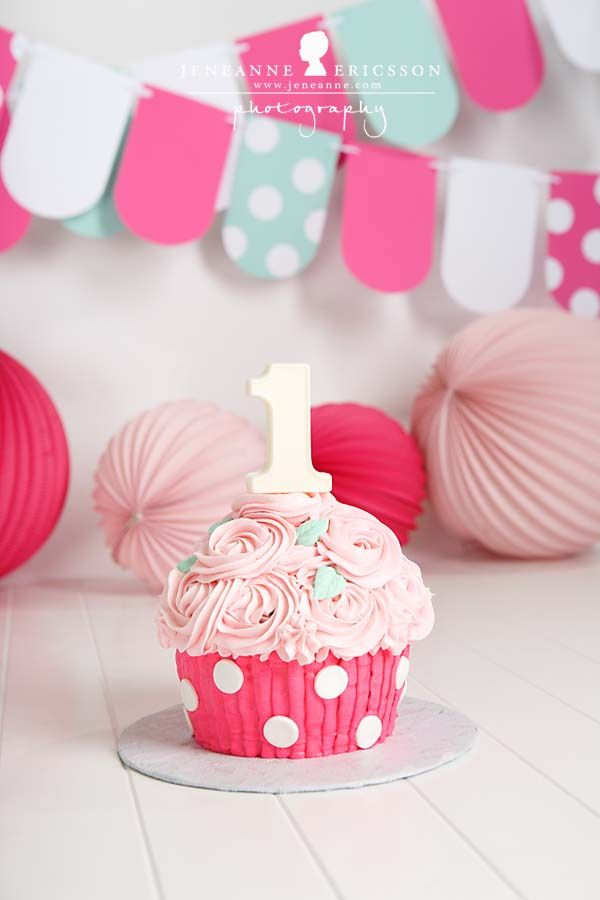 Santa Rosa Baby Photographer » Jeneanne Ericsson Photography pink polka dot giant cupcake cake smash