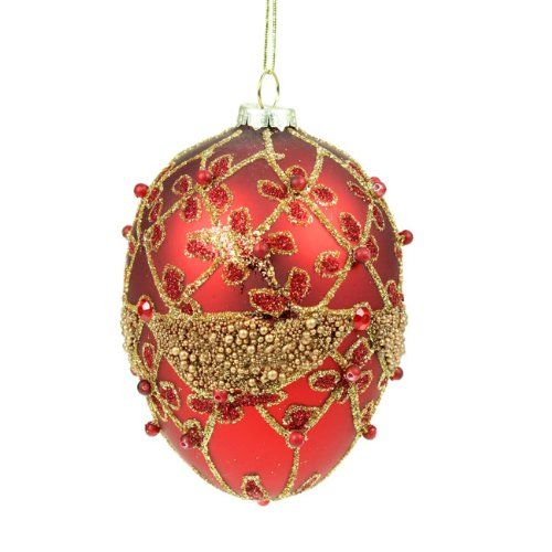 Red & Gold Glass Egg Christmas Tree Decoration (10cm