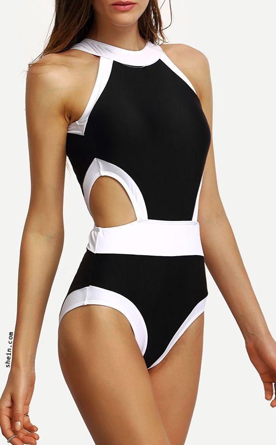Contrast High Neck Cutout One-Piece Swimwear