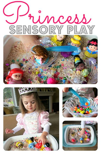 Fun princess themed sensory tub to explore and prompt pretend play!