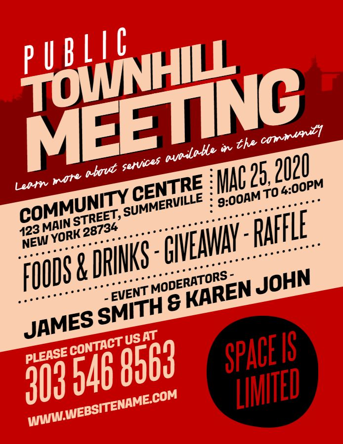 Town Hall Meeting Announcement Poster Flyer Design Template Family
