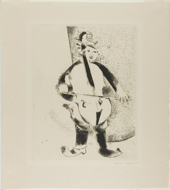 Poor guy looks like he's a strolling cellist (I don't think it's big enough to be anything but the world's tiniest bass). Marc Chagall's The Musician, supplemental plate from Mein Leben, Etching and drypoint on cream Japanese paper, 1922, published 1923 | The Art Institute of Chicago