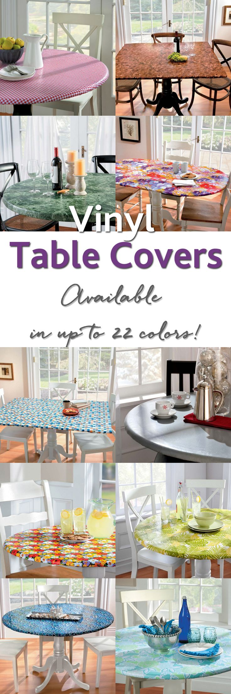 Add beauty and protection to your tables with our top-quality elasticized Vinyl Table Covers. Whether you want to protect a new table or give an old table a fresh new look, these fitted tablecloths will do the job beautifully.