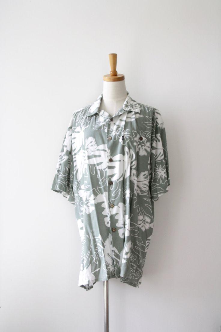 Monstera mens shirt. 90s Sage green shirt. Hang Ten summer shirt. Tropical plant shirt. 90s Boyfriend shirt. Pastel Hawaiian shirt. Size XL by ForestHillTradingCo on Etsy