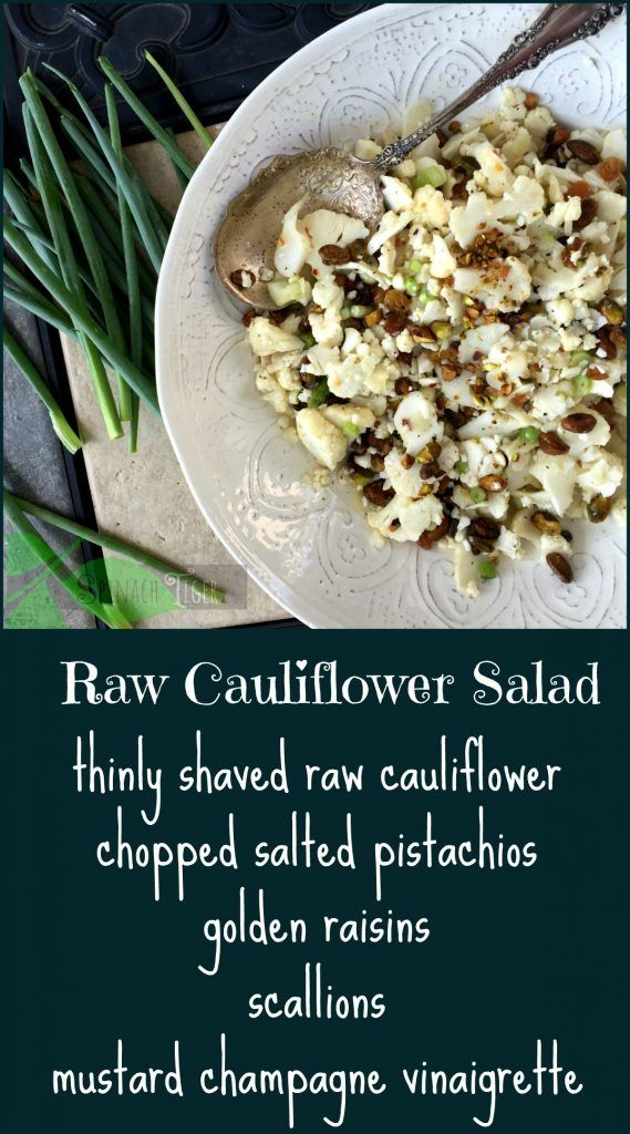 How to make a healthy, tasty, raw shaved cauliflower salad with pistachios with a mustard champagne vinaigrette.Perfect for a party as it keeps well.