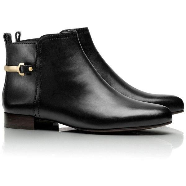 Tory Burch Jess Bootie (17.835 RUB) ❤ liked on Polyvore featuring shoes, boots, ankle booties, ankle boots, chaussure, flats, black, low heel booties, leather ankle boots and low heel ankle boots