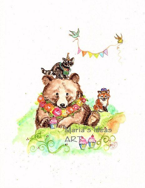 Beer kunst kunst van de bruine beer teddybeer door MariasIdeasArt