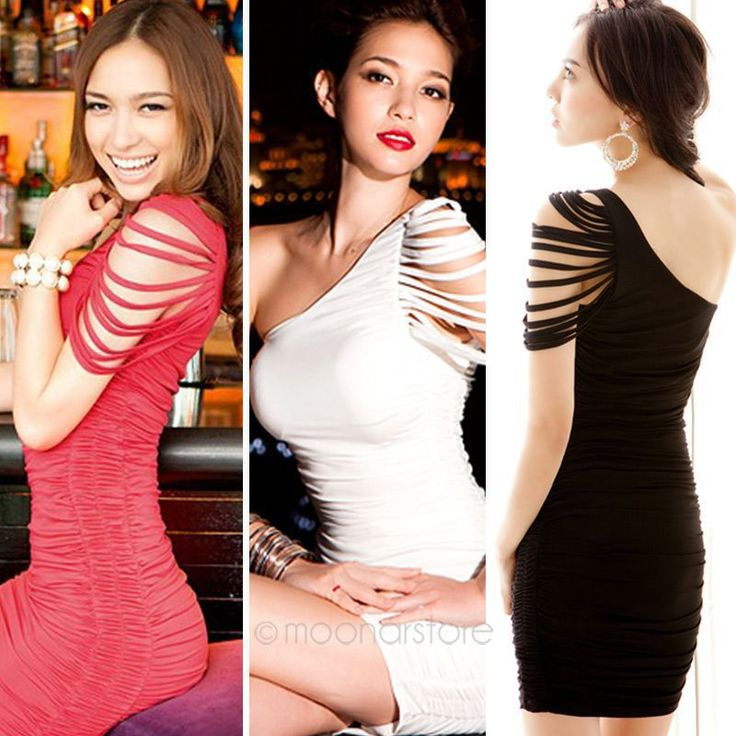 Dress One Shoulder Bandage Over Hip Mini Clubwear Dress For Women Party Costume Bodycon $6.90 (free shipping) Colour: Red white or Black