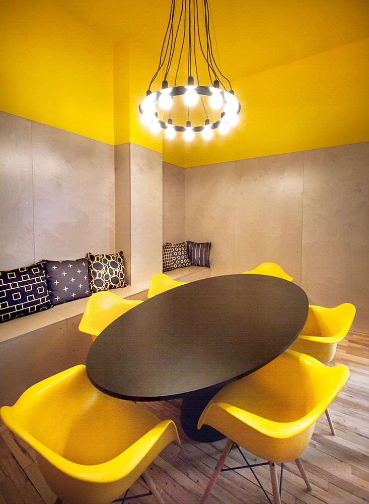 Yellow room design milk modern office confrence table