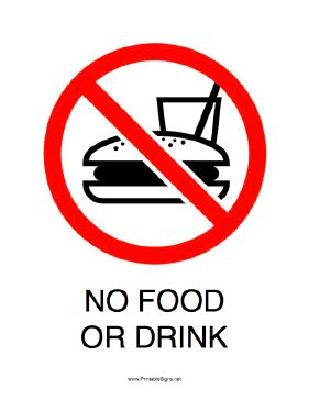This printable sign reminds people that food and drink are not allowed in this area. Free to download and print
