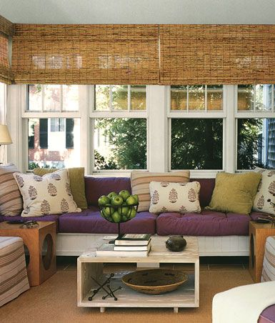 shades.: Sunrooms, Bamboo Shades, Color, Sunroom Ideas, Living Room, Window Treatments, Porches, Bamboo Blinds, Sun Rooms