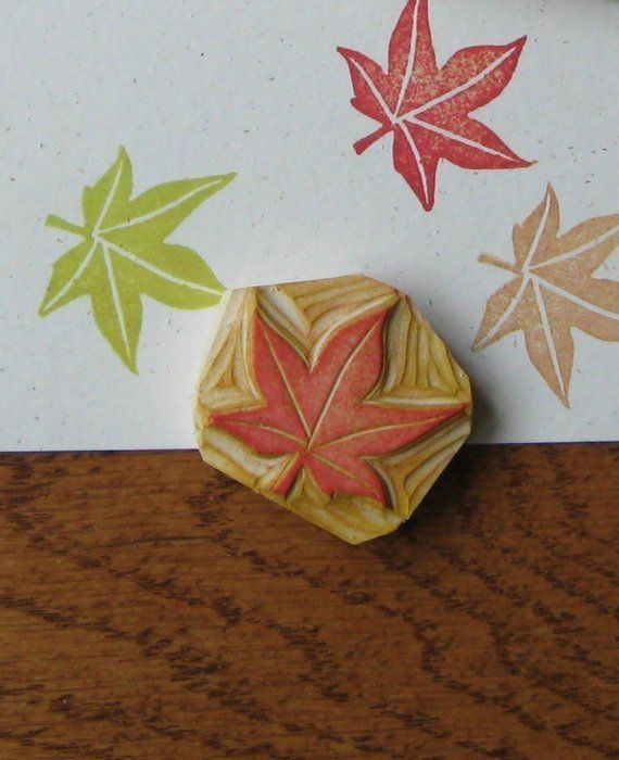 Tiny Maple Leaf Rubber Stamp Hand Carved