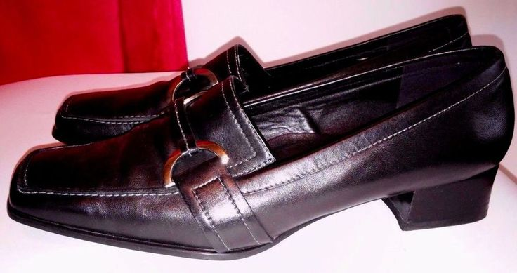 Ecco Womens Black Leather Shoes Size 8 EU 39 #ECCO #LoafersMoccasins