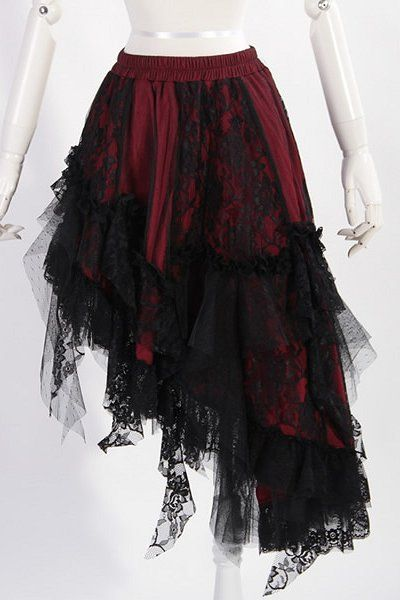 RED & Black Lace Asymmetical Skirt by RQBL