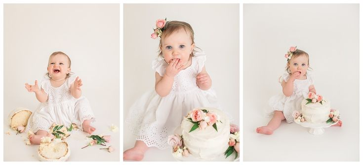 Simple Floral Baby Girl Cake Smash - Victoria BC - Painted Barn Photography