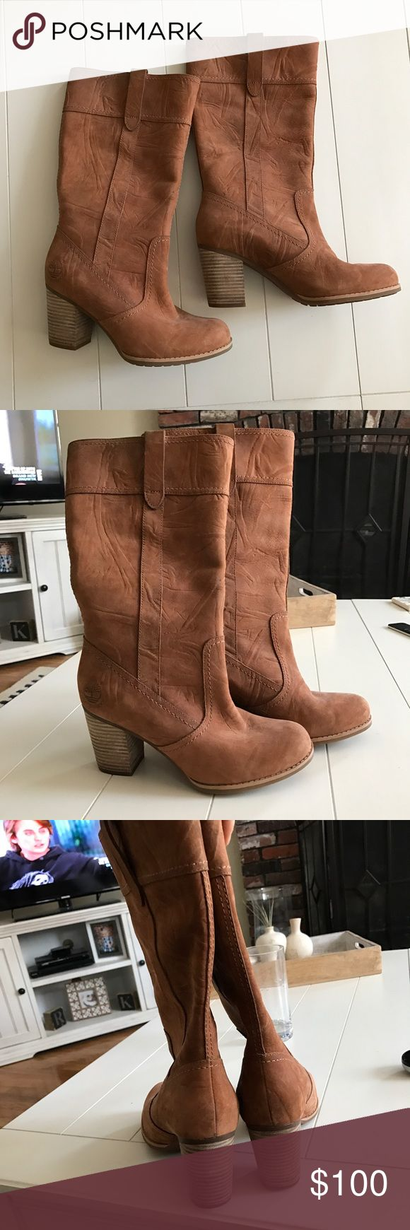 Timberland Tall Heeled Boots US 6/UK 4. Cognac Brown. Genuine Leather.  Excellent condition! Only have been worn a couple of times.  Originally $250. Open to offers. Timberland Shoes Heeled Boots