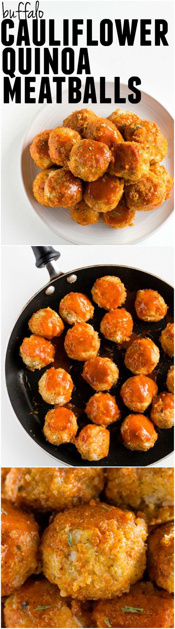 Buffalo Cauliflower Quinoa Meatballs | Simple and delicious MEATLESS meatballs made from cauliflower and quinoa! | thealmondeater.com #vegan