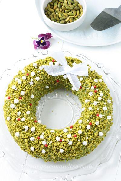 Couronne de Noël à la pistache - www.Puregourmandise.com
