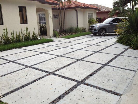 Concrete Driveway Design Ideas stamped concrete driveway concrete driveways d e contreras construction lemon grove ca We Specialize In Modern Rectangle Concrete Driveways Yelp